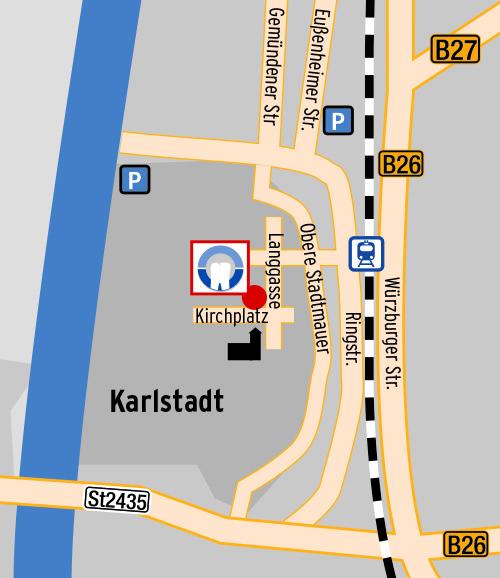 Anfahrt, Lageplan Zahnarztpraxis Dr. Hofmann, Karlstadt