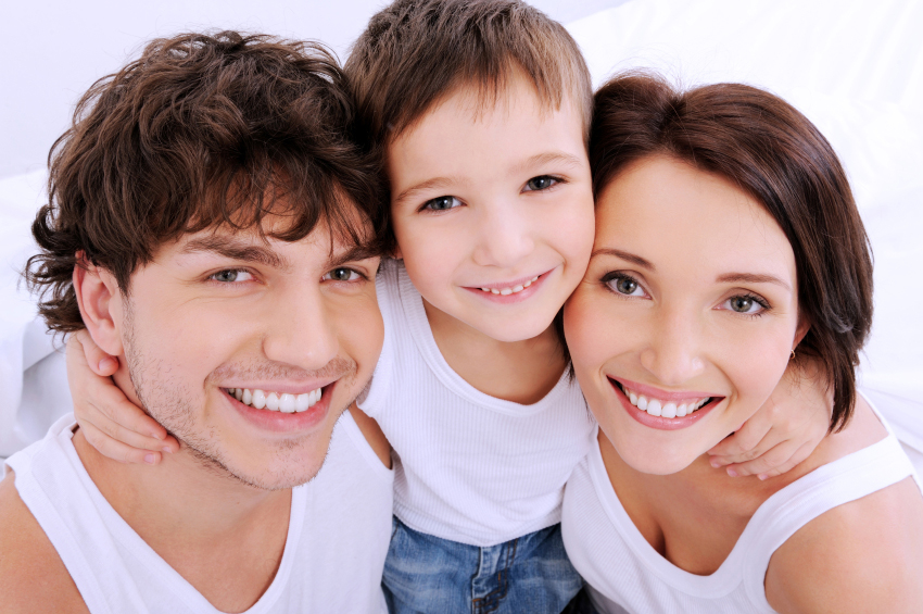 Schönes Lächeln, Zähne, Familie
